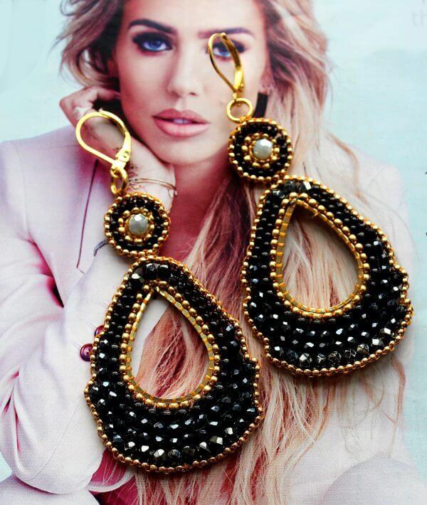 Earrings, chandelier, black, gold, teardrop, Dezigne,