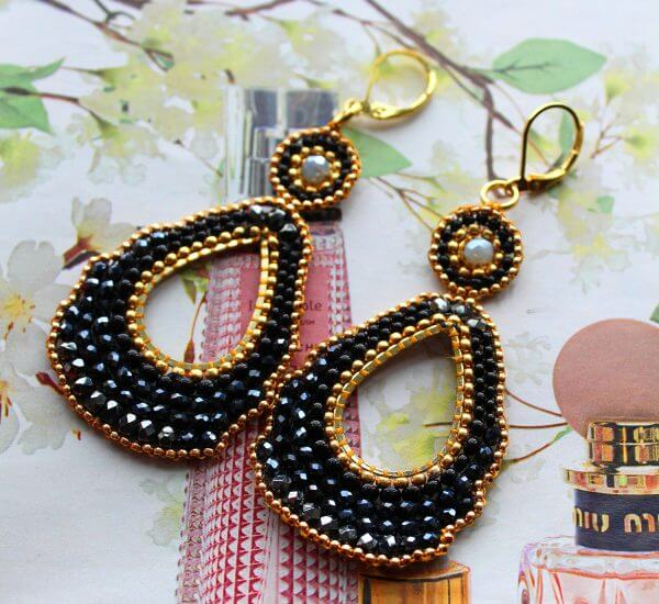 Earrings, Black, Gold, Dezigne, Chandelier, crystal, dangle earrings,