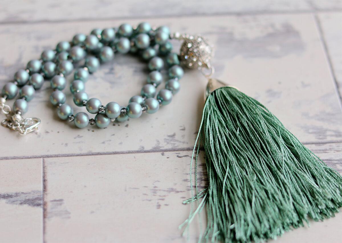 green tassel, necklace, handmade