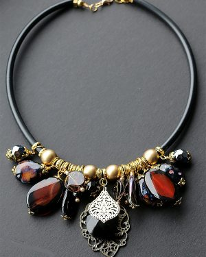 Chunky gold, black and amber necklace