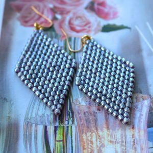 Diamond shaped hand beaded earrings