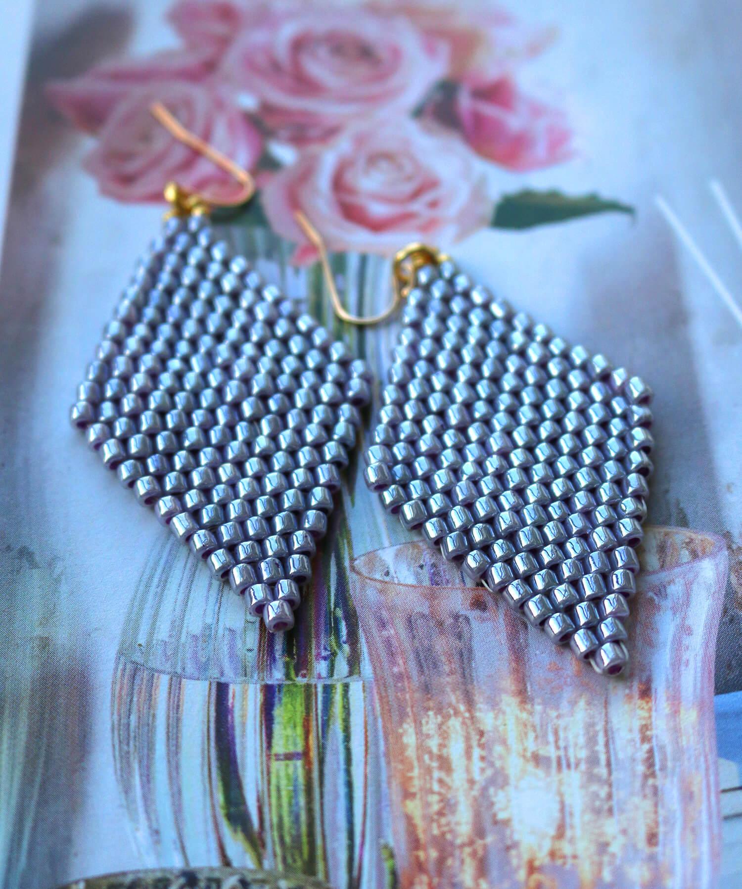 Diamond shaped hand beaded earrings
