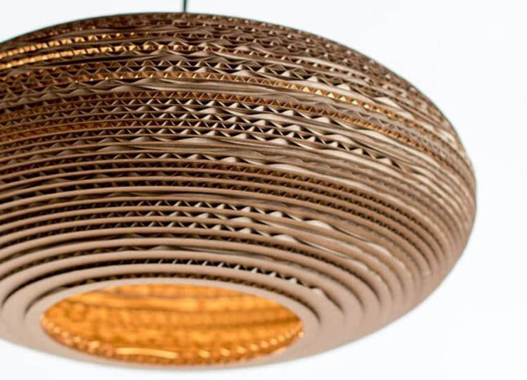 Oval lampshade recycled cardboard