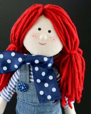 Freckle Face Fabric Doll, Rag Doll, Cloth Doll, Red Hair Doll, Denim Dungarees