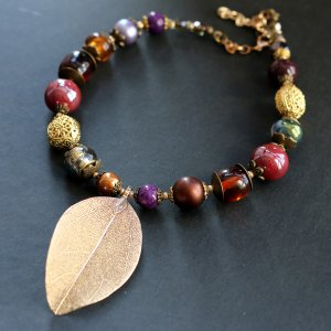 Gold Leaf Beaded Necklace