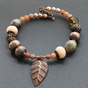 Chunky Bead Necklace with Copper Leaf