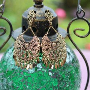Filigree Earrings Antique Gold
