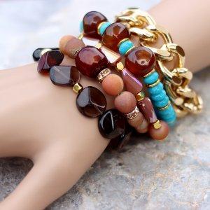 Bronze Gold Turquoise Bracelet Set