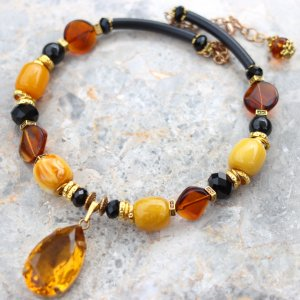 Amber and black chunky necklace