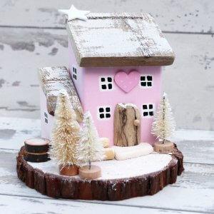 Pink Wooden Winter Cottage