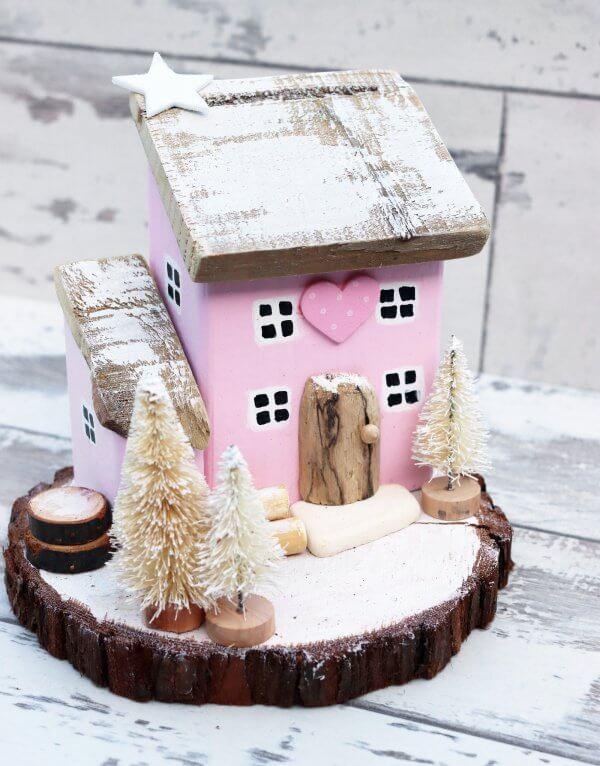 Pink Wooden Winter Cottage Festive Ornament