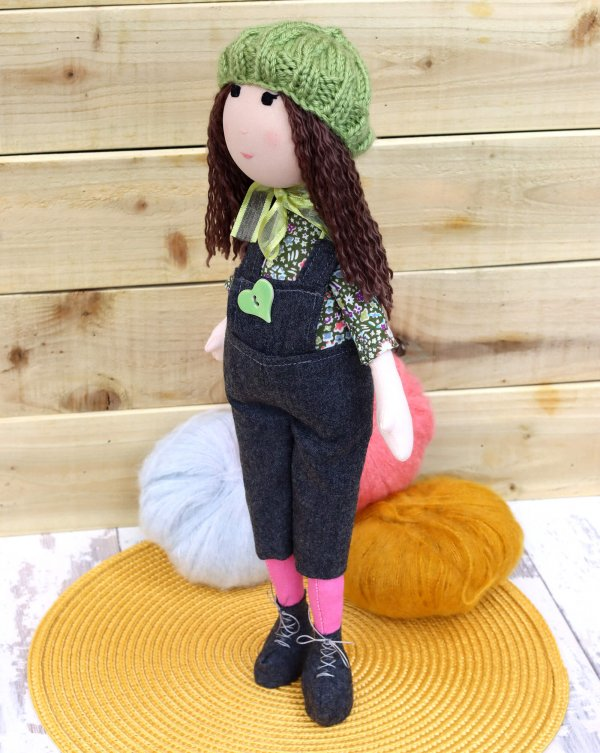Doll Brown Hair Dungarees Boots