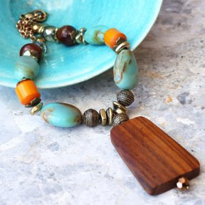 Chunky Beaded Wood Necklace