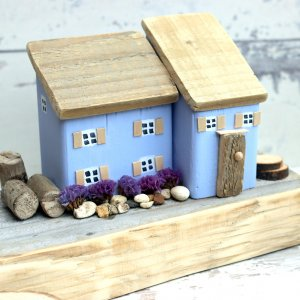 Lilac Cottage Wooden House Ornament