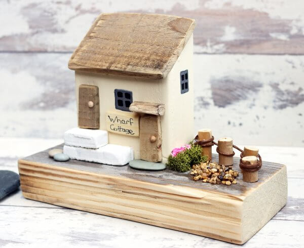 Wharf Cottage Wooden House Ornament