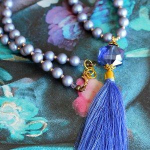 Lavender Blue Tassel necklace
