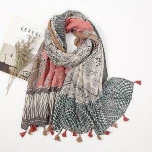 scarf paisley pink grey